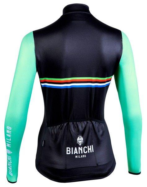Bianchi Milano Falterona Radtrikot Damen lang schwarz celeste 2