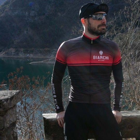 Bianchi Milano Santerno Radtrikot langarm schwarz rot 2