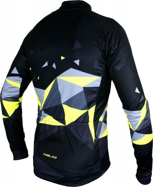 King size Nalini PRO Logo Jersey B long sleeve cycling jersey black/yellow (I18-4050)
