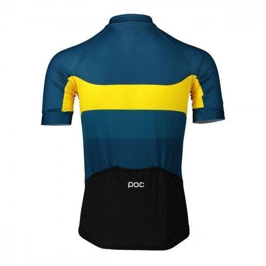 POC ESSENTIAL ROAD LOGO Radtrikot kurzarm gelb/blau 2