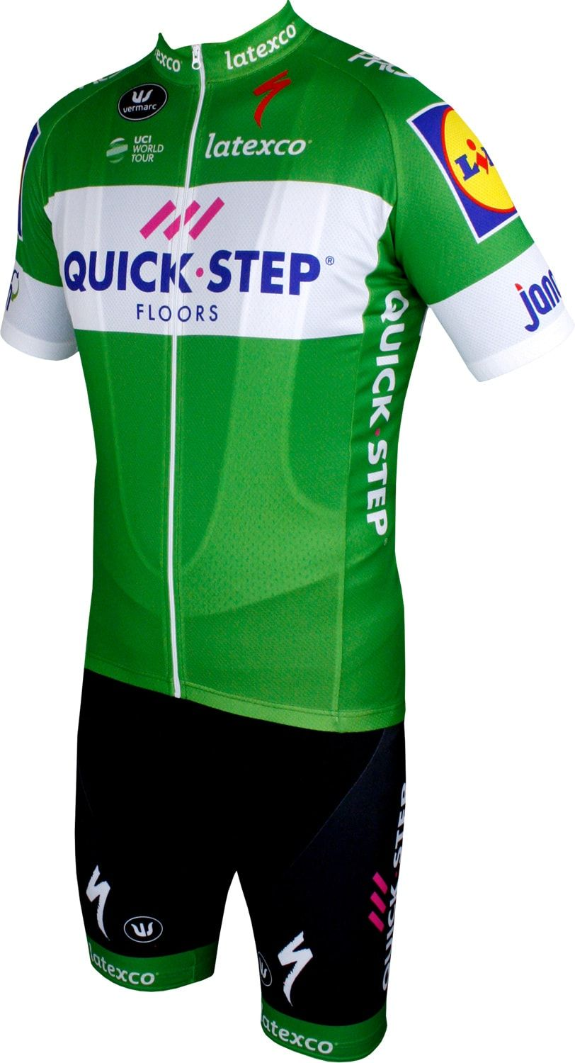 b17edbcd Quick-Step Floors 2018 tour special edition short sleeve cycling jersey  green (long zip) - professional cycling team