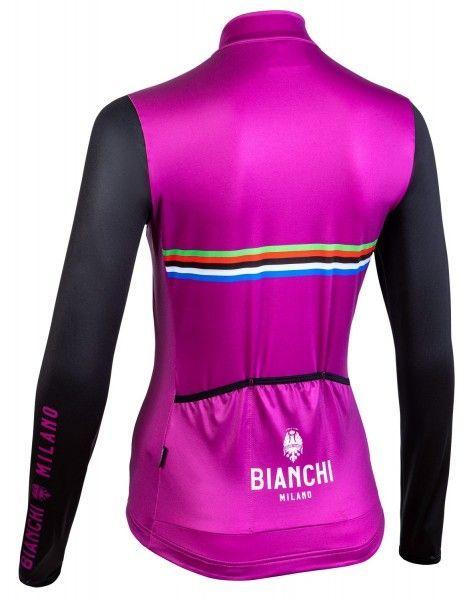 Bianchi Milano Falterona Radtrikot Damen langarm schwarz lila 3
