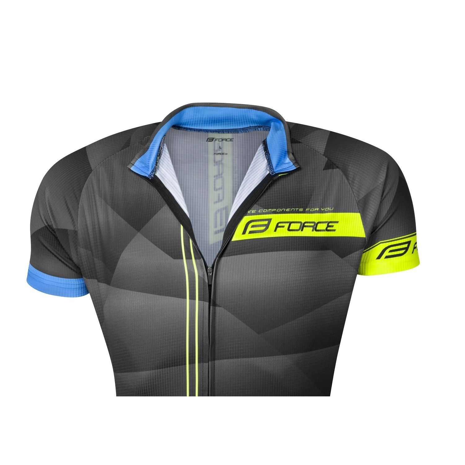 FORCE BEST short sleeve cycling jersey black fluo yellow (900128) a78a30254