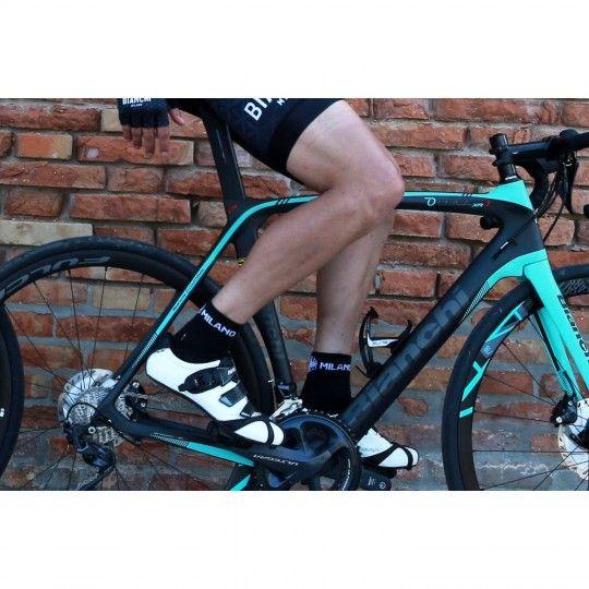 Bianchi Milano ASFALTO  Socken - schwarz (CoolMax) - Radsportbekleidung (I19-4000) S-M (36-41 / 5-7.5)