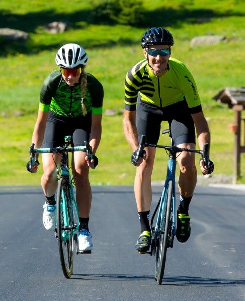Actionbild2 Nalini Stripes Jersey Fahrrad Kurzarmtrikot gelbgrün
