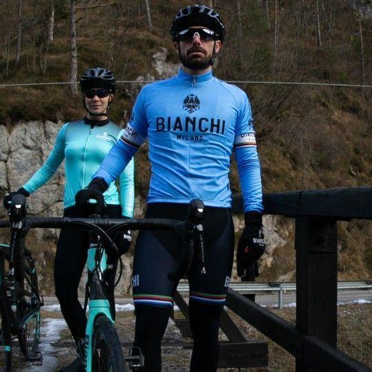 Bianchi Milano LEGGENDA 1 long sleeve cycling jersey blue (I19-4180)