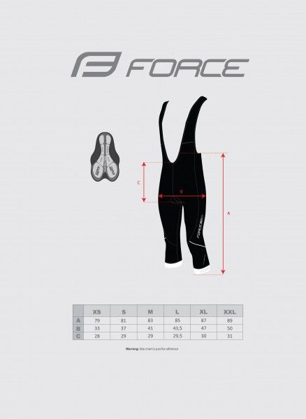 Force Z68 3/4 Radhose Größentabelle