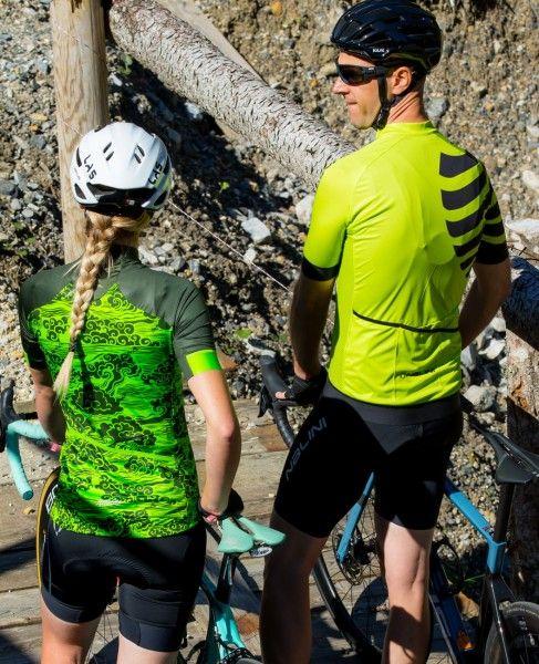 Actionbild3 Nalini Stripes Jersey Fahrrad Kurzarmtrikot gelbgrün
