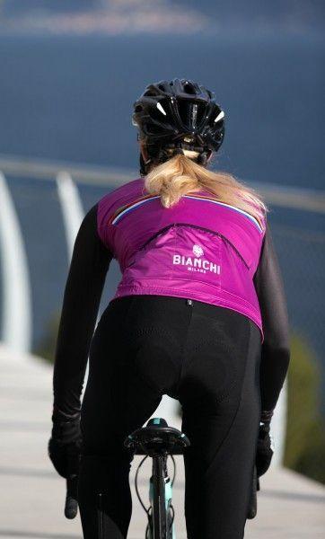 Bianchi Milano Falterona Radtrikot Damen langarm schwarz lila 5