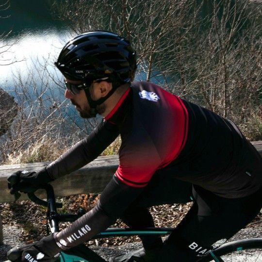 Bianchi Milano Santerno Radtrikot langarm schwarz rot 5