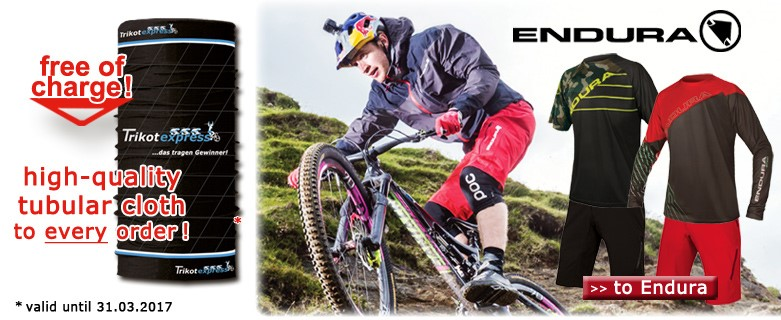Trikotexpress tubular cloth free of charge and Endura 2017 - available now